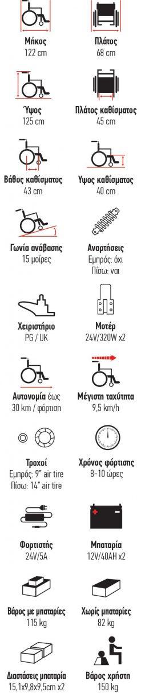 ΟΡΘΟΣΤΑΤΗΣ ΗΛΕΚΤΡΟΚΙΝΗΤΟΣ VT61023-37 POWER CHAIR